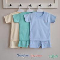 Baju Bayi Setelan Polos Cowok Tangan Pendek Kancing Pundak - ARUCHI