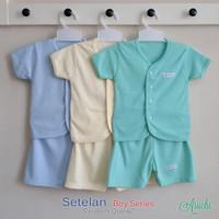 Baju Bayi Setelan Polos Cowok Tangan Pendek Kancing Depan - ARUCHI