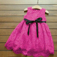 DRESS BRUKAT ANAK PEREMPUAN BAJU GAUN PESTA ULANG TAHUN 2-4 TAHUN - pink