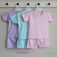 Baju Bayi Setelan Polos Cewek Tangan Pendek Kancing Pundak - ARUCHI