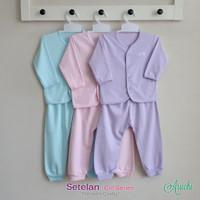 Baju Bayi Setelan Polos Cewek Tangan Panjang Kancing Depan - ARUCHI