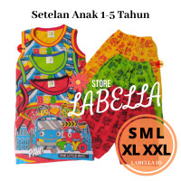 Setelan Baju Motif Tayo Anak Usia 1-5 Tahun Model Kutung Size S M L XL
