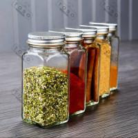 Square Glass Spice Jar Tempat Bumbu Garam Lada Rempah Botol Kaca