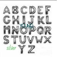 Balon Huruf Silver/Balon ulang tahun huruf warna silver/pcs