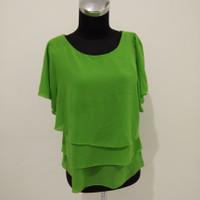 fashion atasan wanita warna hijau lengan pendek blouse untuk kerja