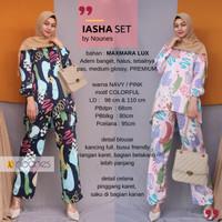 Baju setelan wanita muslim dewasa premium IASHA SET blouse + celana
