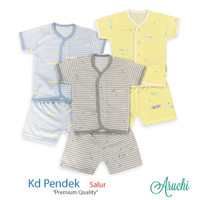 Baju Bayi Setelan Salur Unisex Tangan Pendek Kancing Depan - ARUCHI