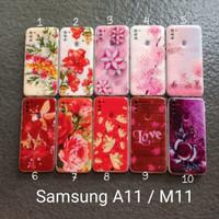 Soft Case samsung A11 / M11 gambar motif gliter bunga softcase kesing