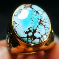 Cincin Batu Blue Turquoise/Pirus Persia Serat Super Antik