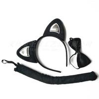HCAS set 3 pcs ekor choker bando black cat kucing headband halloween