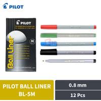 Pulpen Ballpoint Pen Pilot Ball Liner Medium BL-5M 0.8 mm 12 Pcs