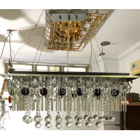 Lampu Plafon Gantung Persegi Panjang Minimalist Besi Kristal