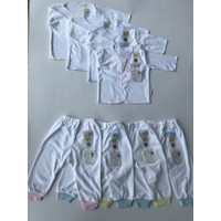 Piyama Bayi Fluffy Baby Wear isi 3 Pasang Newborn Putih Lis, Neci, Ri