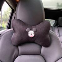 Bantal KAIN LINEN Mickey Minnie Mouse Jok Mobil Kepala Leher Headrest