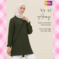 Atasan Nibras NA 43 Warna Hijau Army Daily Outfit Tunik Blouse Busui