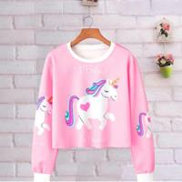 Sweater Unicorn Anak / Baju Anak Unicorn Lengan Panjang Jaket Pink
