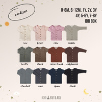 Bohobaby New Cardigan 1/Baju Luaran Hangat Rib Anak/Sweater Polos Bayi