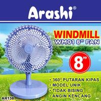Arashi Kipas Angin Meja 8Inch Windmill Ar 138 SNI Swing Kiri Kanan