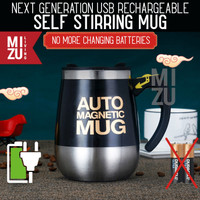 AUTO MAGNETIC MUG 400ml USB Rechargeable Self Stirring Thermos Cup - Putih