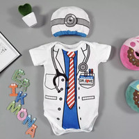 Baju Bayi Jumper Lucu Unik Karakter Profesi Dokter Size M(6-12bulan)