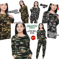 baju senam wanita doreng army