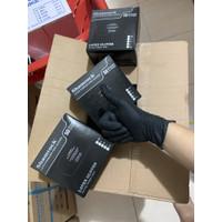 sarung tangan karet latex non powder shamrock warna hitam black isi 50 - XS