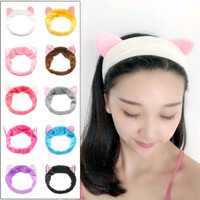 Bando Kuping Kucing / Headband Kain / Bandana Facial Pelindung Rambut - Ungu