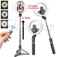Tongsis Tripod LED Ringlight Bluetooth Selfie Stick - Single LED