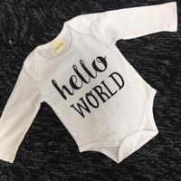 MAINANKU Hello world Baby Set /setelan baju anak/bayi / romper - 80