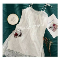 Lingerie wanita sexy set piyama tanpa lengan size besar with stocking - Putih