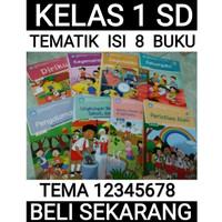 paket buku tematik sd kelas 1 tema 12345678 semester 1 2 (isi 8 buku)