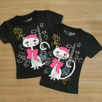 Baju Atasan Kaos Anak Perempuan Cewek Kucing Cat Kitty Paris Hitam