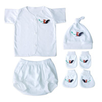 Set Baju Baby New Born 4 in 1 Motif Ayam Jago 0-4 bulan