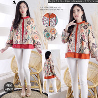 Baju Batik Wanita Lengan Panjang Jumbo Blouse Batik Katun Stretch C114