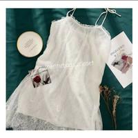 Lingerie wanita sexy set lace piyama tanpa lengan with stocking - Putih