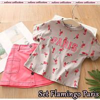 Baju Setelan anak cewek Flaminggo Paris pink 2-3 thn allsize