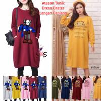 Baju Atasan Wanita Blouse Lengan Panjang Tunik Kaos Midi Dress Lucu