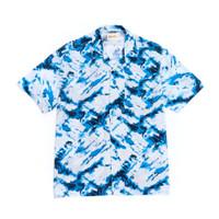 Kemeja Pria Motif Tie Dye Biru Hawaii Shirt Lengan Pendek - M