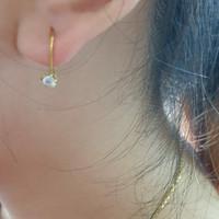 Anting gantung desi mata satu putih emas asli 375 0,5 gram 0,5g