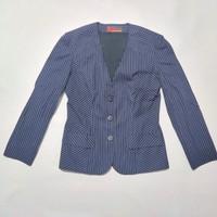 preloved atasan jas blazer jaket formal hitam garis striped outer