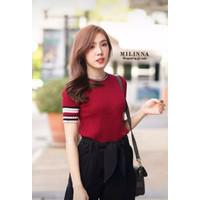 S1 Milinna Top Red Rajut Baju Fashion Wanita Premium Kaos Cewek Import