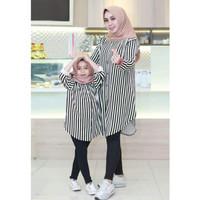 SET Couple Ibu & Anak Baju Atasan Tunik Busana Muslimah Salur Katun