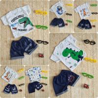 Setelan Baju Celana Bayi Anak Laki-laki Cowok Usia 3-12 Bulan Motif