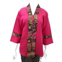 Kebaya Kutu Baru Balotelli Modern Wanita Warna Pink Tua Polos