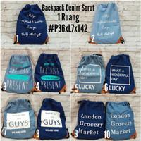 Ransel Serut Denim / Tas Serut / Backpack Serut / Ransel Jeans Unisex