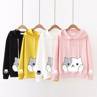 hoodie sweater cat kucing hoodi baju wanita anak remaja luaran outer