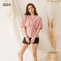Blus Import Wanita Katun Tisu Korea / BLUS KOREA / ATASAN KOREA # 3024 - Orange, L