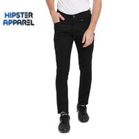 Hipster celana panjang cargo tactical slimfit warna hitam