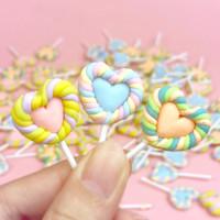 LOVE LOLLIPOP CLAY CHARM / hiasan slime permen loli candy art craft
