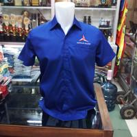 Baju Kemeja Kaos Partai DEMOKRAT full bordir - M, Biru